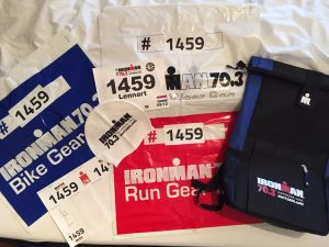 Ironman 70.3 Rapperswil-Jona transition bags, backpack, start nummer and swim cap