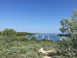 Medulin beach and sailing yachts in Istria, Croatia 2018