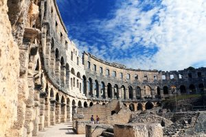 Pula Croatia Amphitheater high walls