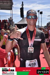 Ironman 70.3 Elsinore Denmark 2019 Happy after crossing the finish line