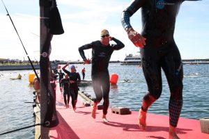 Ironman 70.3 Elsinore Denmark Triathlon 2019 After the swim coming out of the water