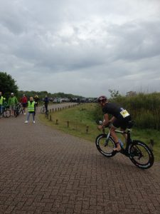 Brouwersdam 90 triathlon bike just out of transition zone