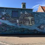 Street painting on a wall in Helsingor Denmark