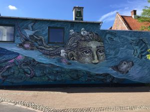 Street painting on a wall in Helsingor Denmark