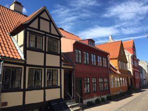 Street of Danish houses in Helsingor Denmark