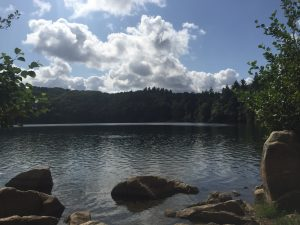 Gour de Tazenat volcano swim lake nearby Vichy France