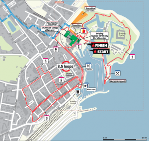 Ironman 70.3 Elsinore Denmark 2019 - run route through Helsingor