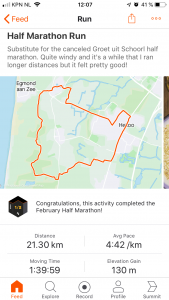 Substitute run training for the cancelled half marathon Groet uit Schoorl 2020