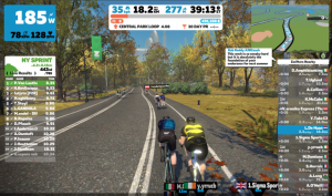 Screenshot of Zwift Watopia bike training