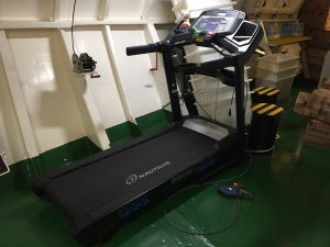 Treadmill in the gym on board