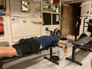 Working offshore dry swimming in the gym