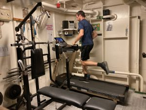 Working offshore on the treadmill in the gym