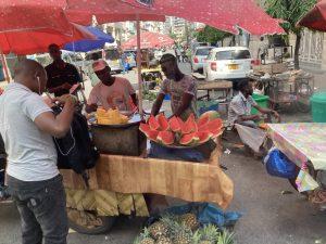 Dar es Salaam Tanzania street market selling fruit