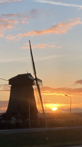 Windmill in Beemster polder the Netherlands