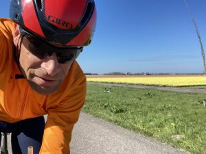 Cycling through the beautiful flower fields in the Netherlands