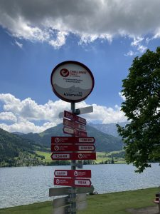 Challenge Walchsee - sign with distances to other triathlon races