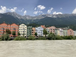 Colourful houses of the Mariahilfstrasse in Innsbruck