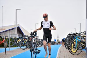 Ironman 70.3 Gdynia - T1 running to the bike exit