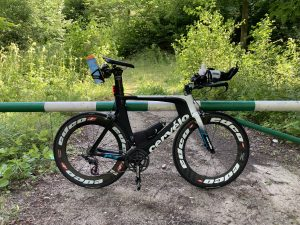 Short stop during reconnaissance ride of Ironman 70.3 Gdynia bike route