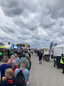 Queue for picking up the start package for Ironman 70.3 Gdynia