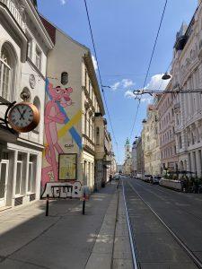 Pink Panther graffiti in Vienna Austria