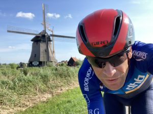 Endurance ride through the Beemster polder passing a windmill